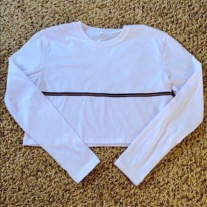 Romwe Cropped Long-sleeved Shirt